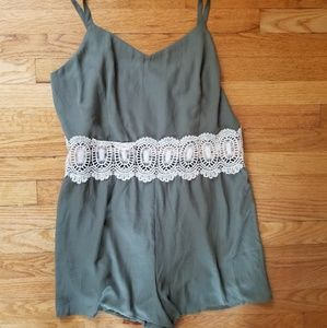Rue21+ Olive Green Crochey Romper